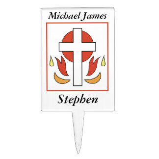 Confirmation Cross and Fire Cake Topper
