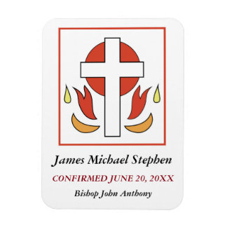 Confirmation Cross and Fire Rectangular Photo Magnet