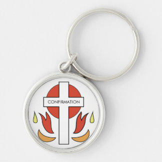 Confirmation Cross and Flames Keychain
