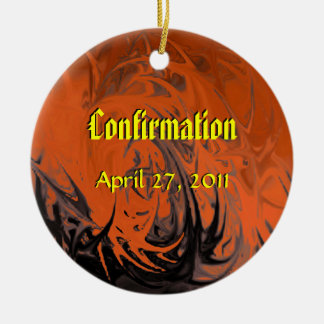 Confirmation (dancing flames) Double-Sided ceramic round christmas ornament