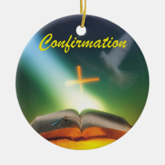 Confirmation Dove, Bible, Cross Ceramic Ornament
