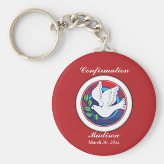 Confirmation, Dove Colorful, Round Gifts, Custom Keychain