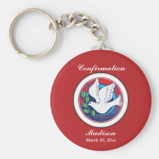 Confirmation, Dove Colorful, Round Keychain