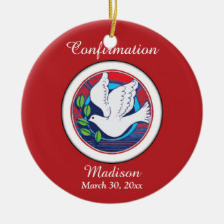 Confirmation, Dove Colorful, Round Ornament