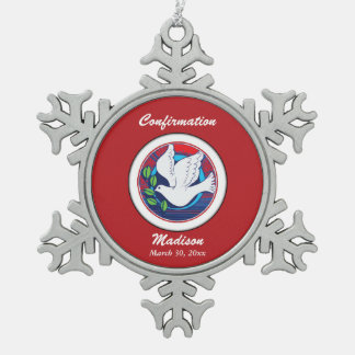 Confirmation, Dove Colorful, Snowflake Necklace Snowflake Pewter Christmas Ornament
