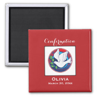 Confirmation, Dove Colorful, Square Gift Magnet