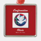 Confirmation, Dove Colorful, Square Gift Metal Ornament