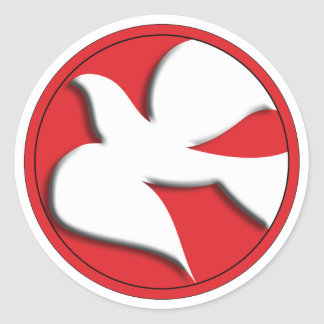 Confirmation Dove in Red Circle Classic Round Sticker
