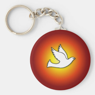 Confirmation Dove with Gold, Red Rays Keychain