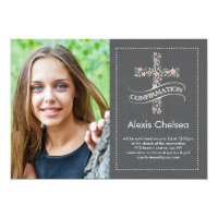 Confirmation Floral Cross Card