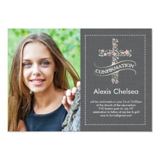 Confirmation Floral Cross 5x7 Paper Invitation Card