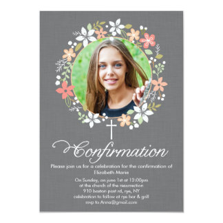 Confirmation Floral Wreath 5x7 Paper Invitation Card