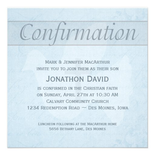 Confirmation Holy Spirit Dove and Cross Blue Invitation