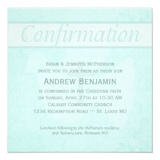 Confirmation Holy Spirit Dove with Cross Aqua 5.25x5.25 Square Paper Invitation Card
