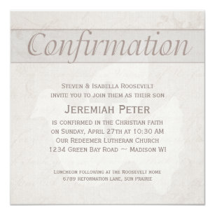 Confirmation Holy Spirit Dove With Cross Taupe Invitation