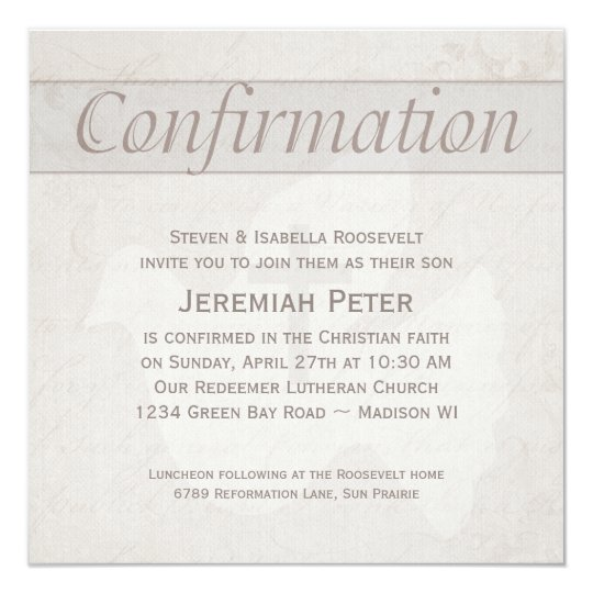Confirmation holy spirit dove with cross taupe invitation zazzle confirmation holy spirit dove with cross taupe invitation stopboris Image collections