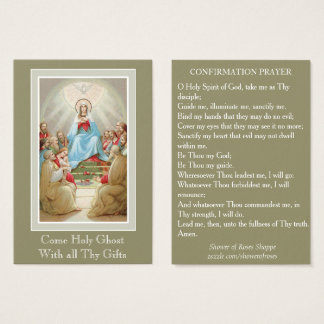 Confirmation Holy Spirit Virgin Mary Apostles Pray Business Card