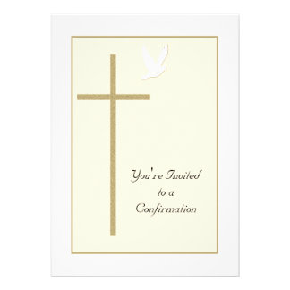 Confirmation Invitation -- Cross and Dove Personalized Invite