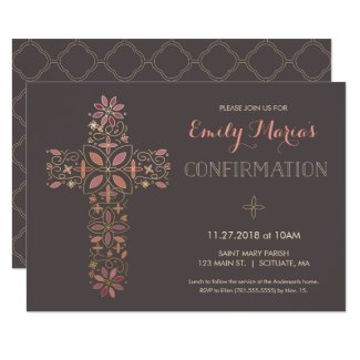 Confirmation Invitation - Gold, Pink Cross Invite