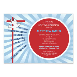 Confirmation Invitation Red Blue Rays