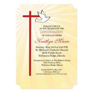 Confirmation Invitation Red Cross & Dove Gold Rays