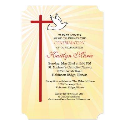 Confirmation Invitation Red Cross & Dove, Lt Blue | Zazzle