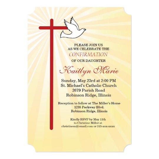 Confirmation Invitation Red Cross Dove Gold Rays Zazzle Com