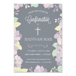 Confirmation Invite Card with Flowers & Cross