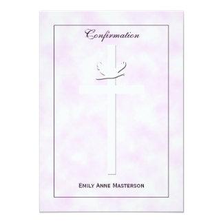 Confirmation Invite Dove and Cross on Pink Invite