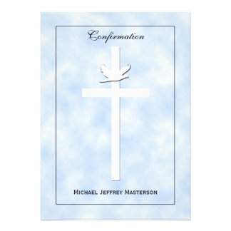 Confirmation Invite - Dove Cross on Blue Invite Personalized Announcements