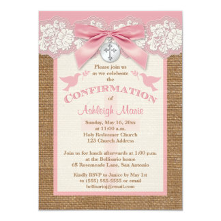 Confirmation | PRINTED BOW & CHARM | Burlap | Lace Personalized Invite