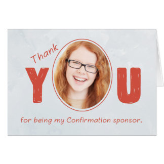Confirmation Sponsor Photo Thank You, Red and Silv Card