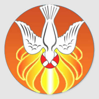 Confirmation Sticker- Holy Spirit and seven flames Classic Round Sticker
