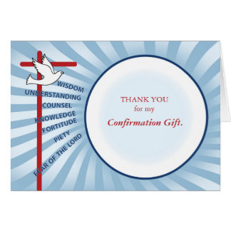 Confirmation Thank You Light Blue Rays, White Circ Card