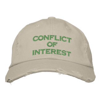 conflict of interest embroidered baseball hat
