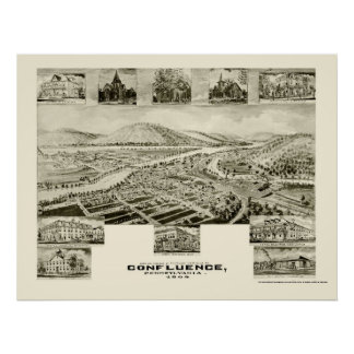 Confluence, PA Panoramic Map - 1905 Poster