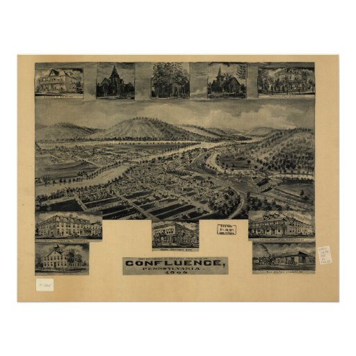 Confluence Pennsylvania 1905 Antique Panoramic Map Poster