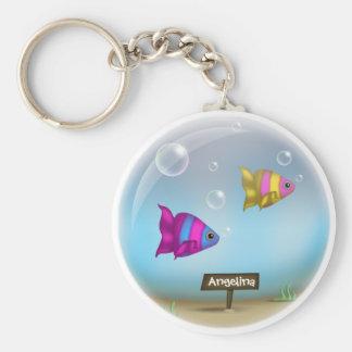 Conforme al diseño del cuenco de los peces de mar  llaveros personalizados