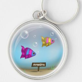 Conforme al diseño del cuenco de los pescados de m llaveros personalizados