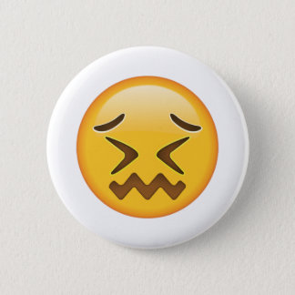 Confounded Face - Emoji Pinback Button