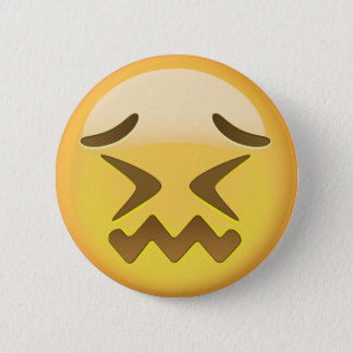 Confounded Face Emoji Pinback Button