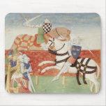 Confrontación de dos caballeros ante el rey mouse pads