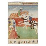 Confrontación de dos caballeros ante el rey tarjeta de felicitación