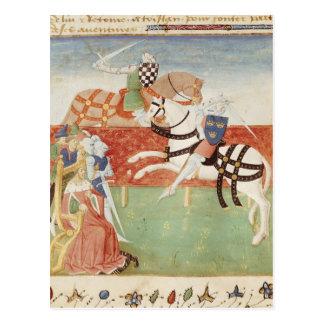 Confrontación de dos caballeros ante el rey tarjeta postal