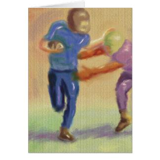Confrontación del fútbol tarjeta de felicitación