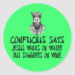 Confucio ateo etiqueta redonda