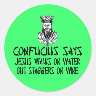 Confucio ateo pegatina redonda