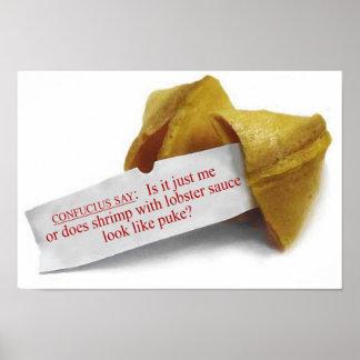 Confucio dice el poster de la galleta de la suerte