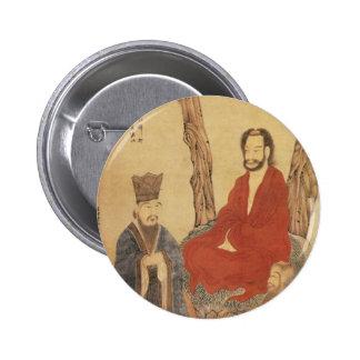 Confucio, lao-tzu y Arhat budista Pin Redondo De 2 Pulgadas