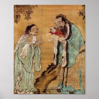 Confucio que presenta a Buda a Laozi Póster